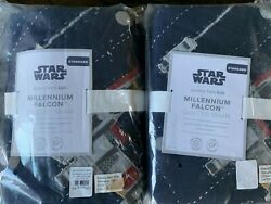 NWT 2 POTTERY BARN KIDS STAR WARS MILLENNIUM FALCON QUILTED STANDARD SHAMS $60.00