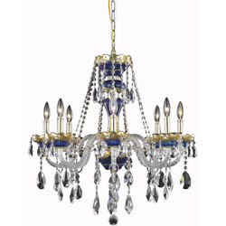 ASFOUR CRYSTAL CHANDELIER BLUE AND GOLD KITCHEN ISLAND DINING ROOM FOYER 8 LIGHT $1428.84