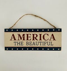 "Farmhouse Rustic Country America The Beautiful Hanging Wood Sign 10"" X 4"" $8.95"