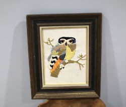 Vintage Owl Embroidery Framed Wall Hanging 70s $22.00