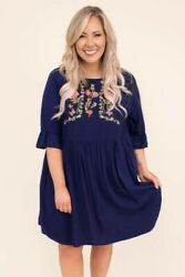 Women#x27;s Plus Size Navy Floral Butterfly Colorful Embroidered Bohemian Dress 3X $36.00