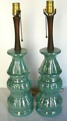 Mid Century Table Lamp Set Iridescent Turquoise Blue Green Ceramic and Wood 2 Pc $79.20