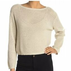 RDI Nordstrom Large Tan White Beach Open Knit Long Sleeve Boatneck Sweater $9.99
