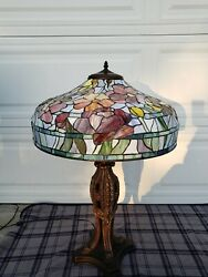Reproduction of Antique Tiffany Handel Duffner Stained Glass Table Lamp w Shade $540.00