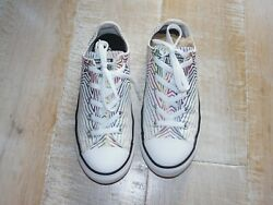 CONVERSE ALL STAR girls white with stars sneakers athletic shoes 4 $14.99