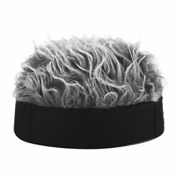 Men Women Novelty Beanie Hat With Spiked Fake Hair Funny Short Wig Cap Outdoor $10.89