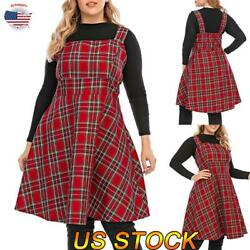Ladies Dress Skater Dress Womens Check Plaid Sleeveless Tartan Party Plus Size $26.69