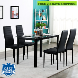 5 Piece Dining Table Sets Glass Metal 4 Chairs Kitchen Room Furniture Home Black $199.96