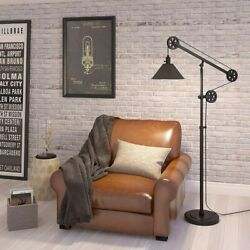 Farmhouse Floor Lamp Industrial Rustic Modern Country Mechanical Pulley Style $199.95