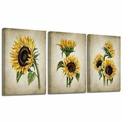 Sunflower Kitchen Decor Simple Life Rustic Wall Decor Vintage 12x16inchx3 $46.64