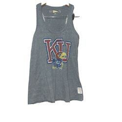 Distant Replays Womens Kansas Jayhawks College Tank Top Gray Size Small