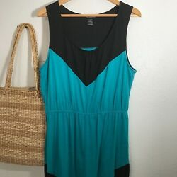 Delirious Teal Black Maxi Dress 1X Tank Long Dresses Chevron Arrow Printed Green $16.00