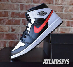 Air Jordan 1 Mid Black Chile Red White GS Men 554724 075 $179.99