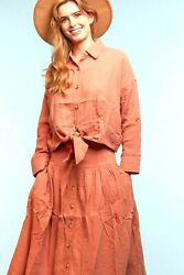 Raw Edge Rose Mauve Button Tie Top amp; Button Skirt Set S M L Free Ship Return $10.77