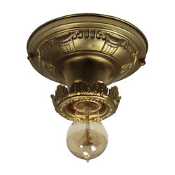 Brass Flush Mount Light with Exposed Bulb Antique Lighting NC3895 $195.00