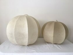Pair Vintage Castiglioni Style Cocoon Pendant Lamps Italy 1960s $1295.00