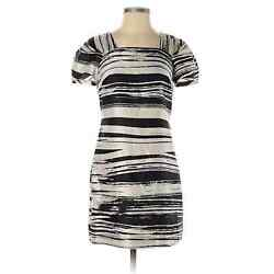 Banana Republic plus size 100% silk abstract dress ivory black short party 14 $40.00