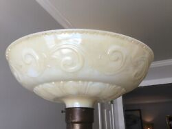 """16"""" Torchiere Lamp Shade Art Deco Embossed Glass $175.00"""