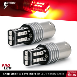 Syneticusa 1157 LED Red Strobe Flash Brake Stop Parking Rear Light Safety Bulbs $11.89