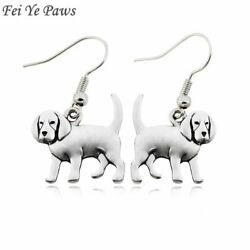 Dog Earrings Fish Hook Drop Dangle For Women Beagle Ear Jewelry Silver Plated $49.39