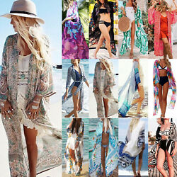 Women Boho Long Kimono Cardigan Bikini Cover Up Top Coat Wrap Kaftan Maxi Dress $12.82