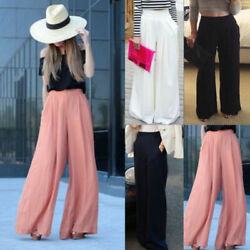 Womens Wide Leg Flared Palazzo Pants High Waist Loose Office Work Long Trousers $13.77