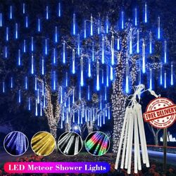 144 LED Lights Meteor Shower Rain 8 Tube Tree Outdoor Light Lamp Xmas Decor USA