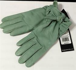 NEW Badgley Mischka Bow Tie Leather Touchscreen Gloves LG Green #78234 $33.15