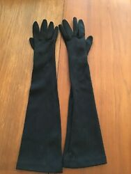 "Vintage Womens Black 17"" Opera Gloves Formal Long Stretchy Size S M Free Ship $8.95"