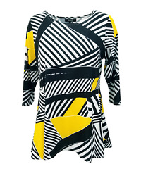 Lior Paris Women#x27;s Yellow amp; Black Line 3 4 Sleeve Round Neck Tunic $19.99