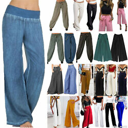Women#x27;s Wide Leg Flared Pants Loose High Waist Casual Palazzo Trousers Plus Size $15.95