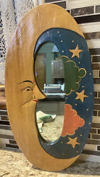 Painted Moon Wall Hanging Decorative Mirror Unbranded $25.00