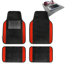 4pcs Carpet Floor Mat for Auto Car Van SUV Full Set Red w Gray Dash Mat $19.54