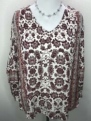 Lucky Brand 1X Floral Boho Long Sleeve Tunic Top Burgundy Cream Pink Plus Size $14.95