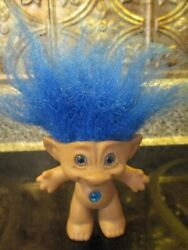 Vintage Ace Novelty Blue Hair Blue Jewel Blue Eyes 3quot; Troll Doll with Hair 6quot; $11.99
