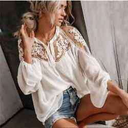 NWT Hayden Ivory Lace Boho Top Womens M L $36.00