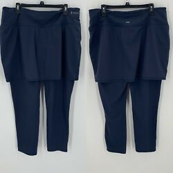 Zuda Skirt Leggings Plus Size 1XT 1X Tall Move Crop Pocket Navy Blue A380851 EUC $29.99