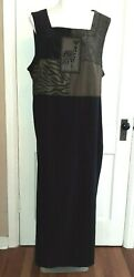 2X Maxi Plus Size Amanda Smith Woman Zebra Black Sleeveless Dress $19.99