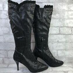 Impo Sofia Womens Knee High Boot Black Paisley Patterned Fabric Pull On 7.5M $41.99