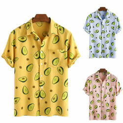 Men Summer Holiday Printed T Shirts Casual Beach Buttons Blouses Holiday Tops $19.49