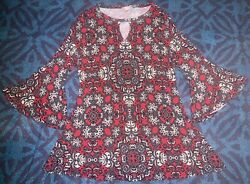 DB Red White Dress With Flared Sleeves Women's Size Medium $6.00