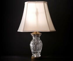 """Waterford quot;Glandorequot; Crystal 22"""" Electric Lamp Brass with Shade Working $120.00"""