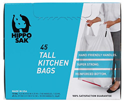 Hippo Sak Tall Kitchen Bags with Handles 13 Gallon 45 count $14.12