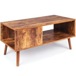 Wooden Modern Retro Coffee Table Living Room Furniture Drink Holder Storage New $106.87