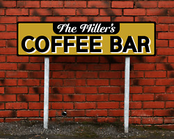 Personalized Family Name Coffee Bar Sign Rustic Pub Cafe Large Metal Plaque $22.87