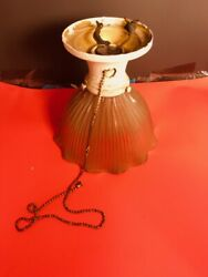 Vintage Antique Hanging Lamp with fluted glass shade NICE $29.00