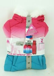 Snowzu Toddler Girls Two Pc Snow Set 3T Cherry Pink Teal Ombre $35.99