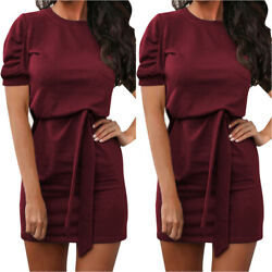 Women Holiday Casual Short Sleeve Dresses Summer Formal Business Party Dresses $22.59