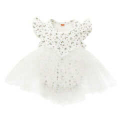 Baby Gril#x27;s Summer One Pieces Short Sleeve Wedding White Dresses Birthday Party $17.95