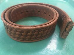 Sears Size M 34 36 Brown Leather Belt Strap Only Embossed Weave $11.99